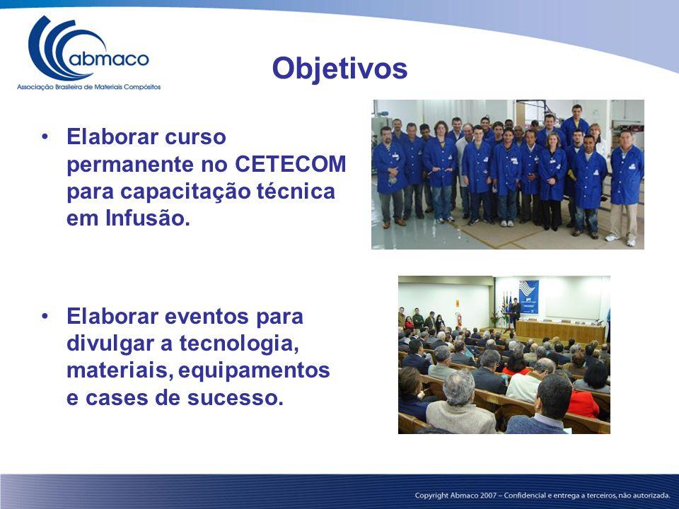 Objetivos Elaborar curso permanente no CETECOM para capacitação técnica em Infusão. Elaborar eventos para divulgar a tecnologia, materiais, equipament