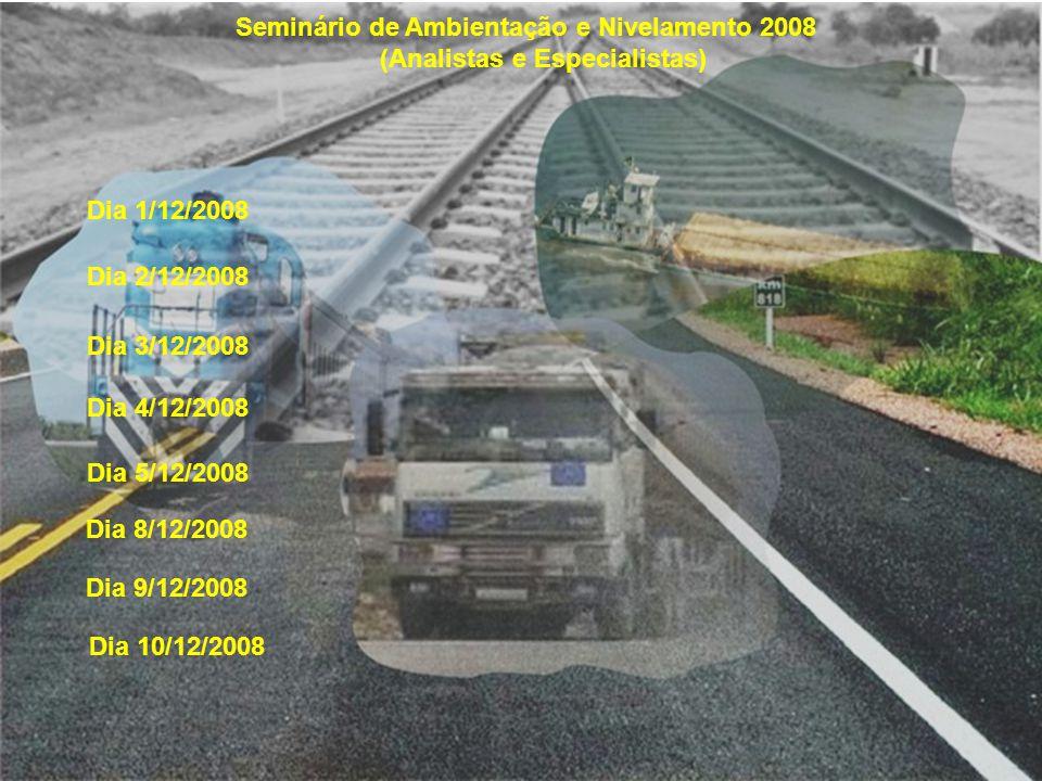 Seminário de Ambientação e Nivelamento 2008 (Analistas e Especialistas) Dia 1/12/2008 Dia 2/12/2008 Dia 3/12/2008 Dia 4/12/2008 Dia 5/12/2008 Dia 8/12/2008 Dia 9/12/2008 Dia 10/12/2008