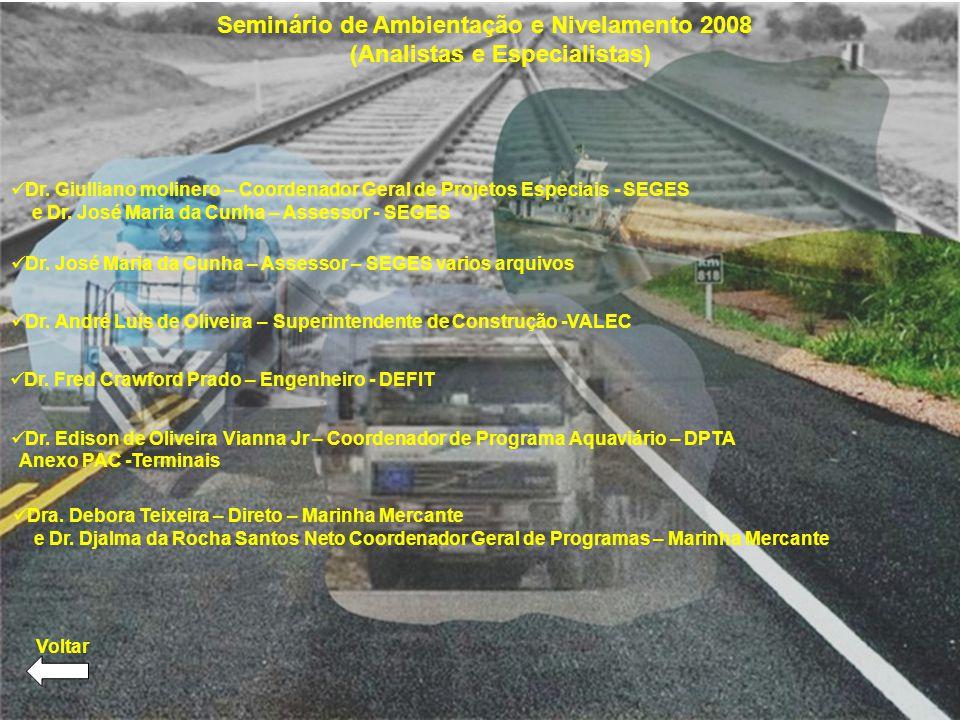 Seminário de Ambientação e Nivelamento 2008 (Analistas e Especialistas) Dr. Giulliano molinero – Coordenador Geral de Projetos Especiais - SEGES e Dr.
