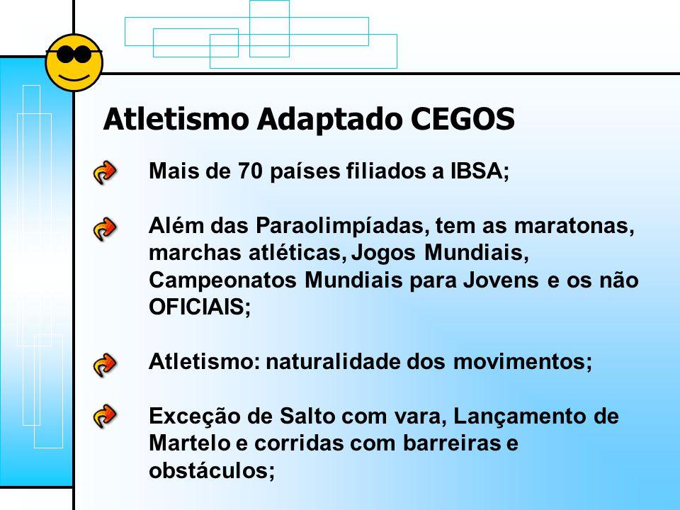 Atletismo Adaptado CEGOS Mais de 70 países filiados a IBSA; Além das Paraolimpíadas, tem as maratonas, marchas atléticas, Jogos Mundiais, Campeonatos