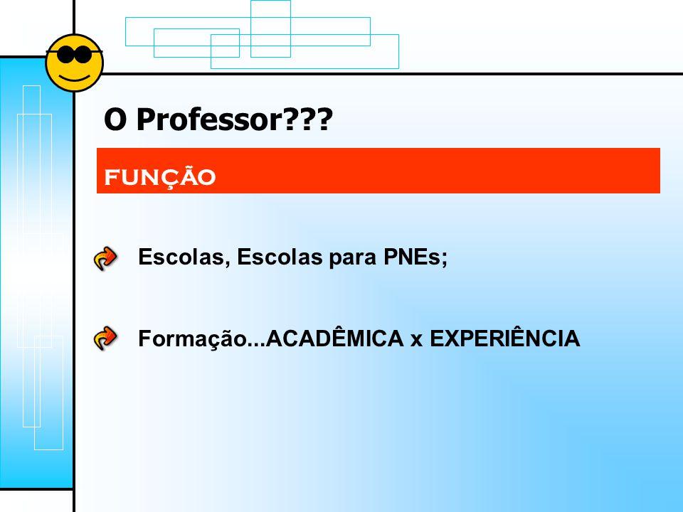 O Professor??? FUNÇÃO Escolas, Escolas para PNEs; Formação...ACADÊMICA x EXPERIÊNCIA