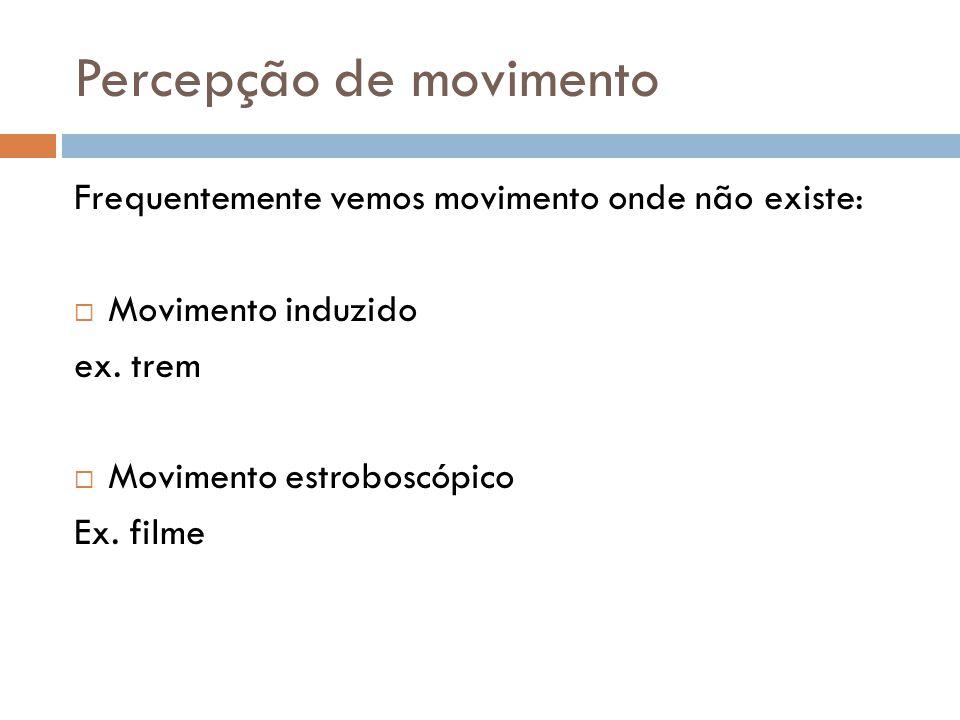 Percepção de movimento Frequentemente vemos movimento onde não existe:  Movimento induzido ex. trem  Movimento estroboscópico Ex. filme