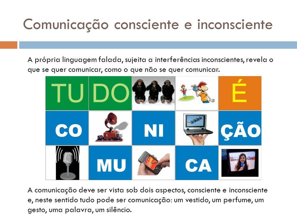 Comunicação consciente e inconsciente A própria linguagem falada, sujeita a interferências inconscientes, revela o que se quer comunicar, como o que n