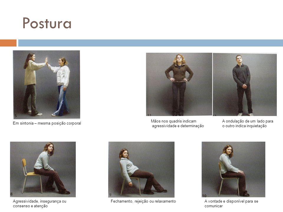 Postura Em sintonia – mesma posição corporal Agressividade, insegurança ou consenso e atenção Mãos nos quadris indicam agressividade e determinação A