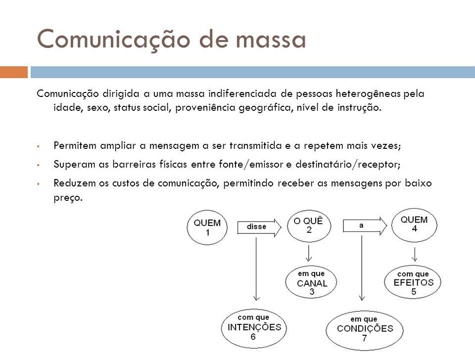 Comunicação de massa Comunicação dirigida a uma massa indiferenciada de pessoas heterogêneas pela idade, sexo, status social, proveniência geográfica, nível de instrução.