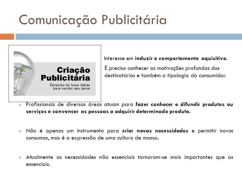 Comunicação Publicitária Interesse em induzir o comportamento aquisitivo. É preciso conhecer as motivações profundas dos destinatários e também a tipo