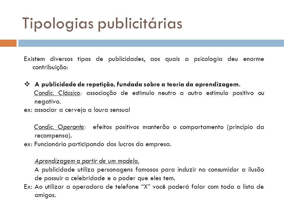 Tipologias publicitárias Existem diversos tipos de publicidades, aos quais a psicologia deu enorme contribuição:  A publicidade de repetição, fundada sobre a teoria da aprendizagem.