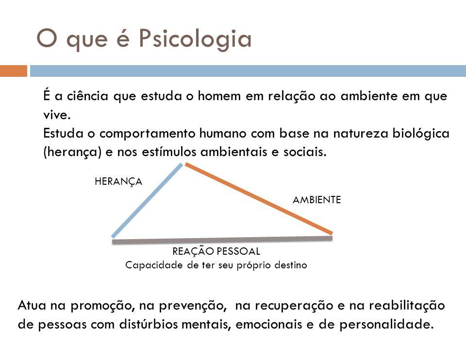 O que é Psicologia É a ciência que estuda o homem em relação ao ambiente em que vive. Estuda o comportamento humano com base na natureza biológica (he