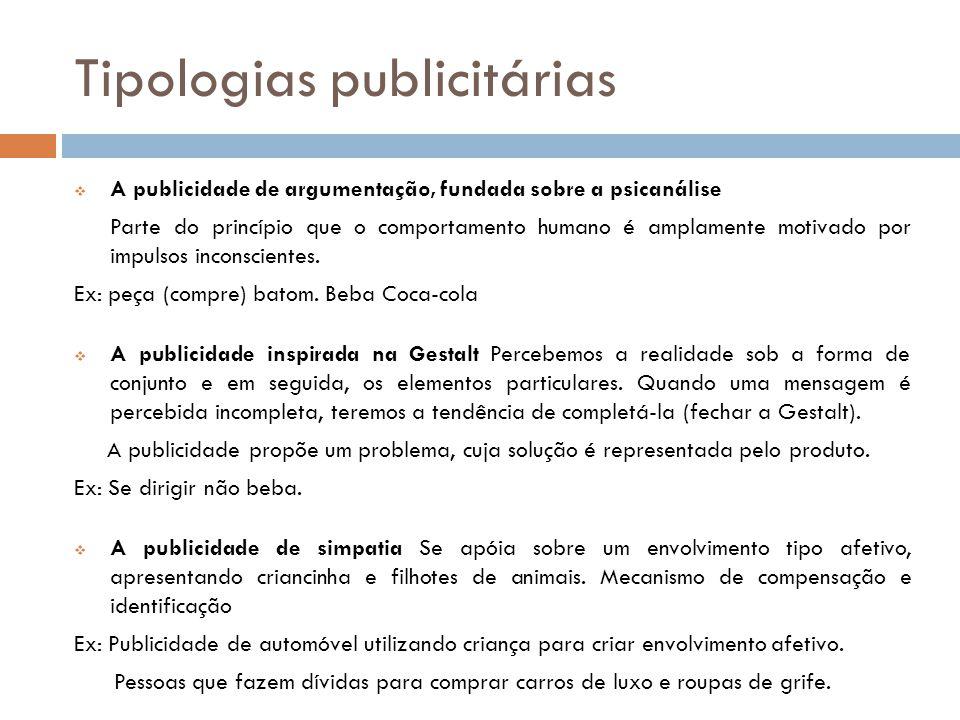 Tipologias publicitárias  A publicidade de argumentação, fundada sobre a psicanálise Parte do princípio que o comportamento humano é amplamente motiv