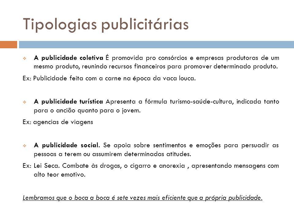 Tipologias publicitárias  A publicidade coletiva É promovida pro consórcios e empresas produtoras de um mesmo produto, reunindo recursos financeiros