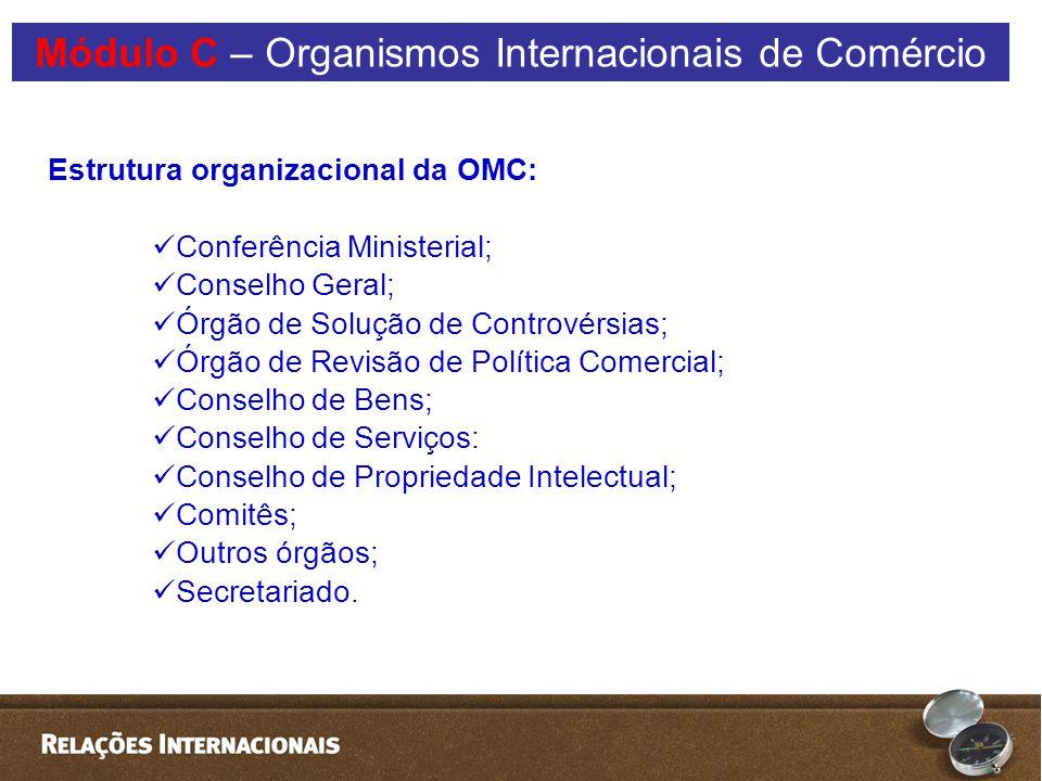 Estrutura organizacional da OMC: Conferência Ministerial; Conselho Geral; Órgão de Solução de Controvérsias; Órgão de Revisão de Política Comercial; Conselho de Bens; Conselho de Serviços: Conselho de Propriedade Intelectual; Comitês; Outros órgãos; Secretariado.