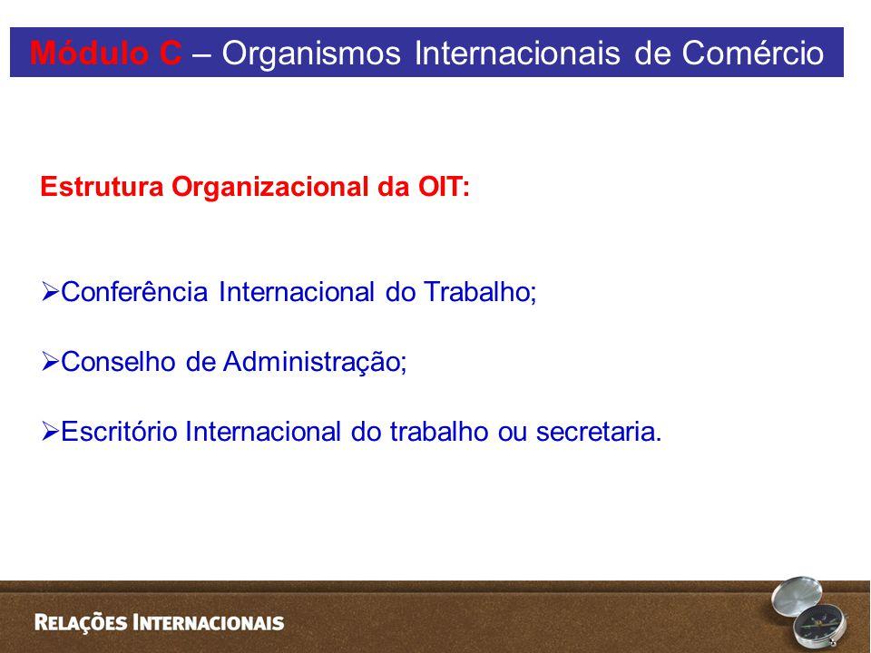 Estrutura Organizacional da OIT:  Conferência Internacional do Trabalho;  Conselho de Administração;  Escritório Internacional do trabalho ou secretaria.