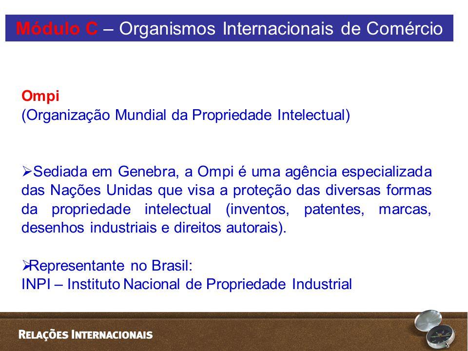 Ompi (Organização Mundial da Propriedade Intelectual)  Sediada em Genebra, a Ompi é uma agência especializada das Nações Unidas que visa a proteção das diversas formas da propriedade intelectual (inventos, patentes, marcas, desenhos industriais e direitos autorais).