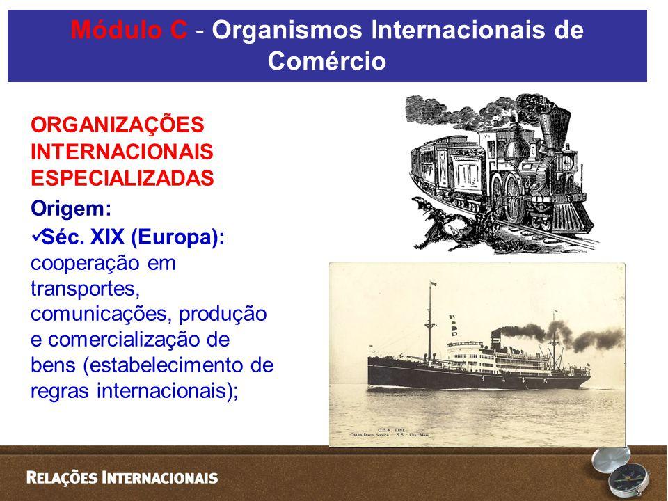 ORGANIZAÇÕES INTERNACIONAIS ESPECIALIZADAS Origem: Séc.