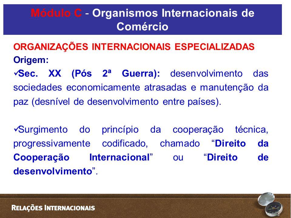 ORGANIZAÇÕES INTERNACIONAIS ESPECIALIZADAS Origem: Sec.