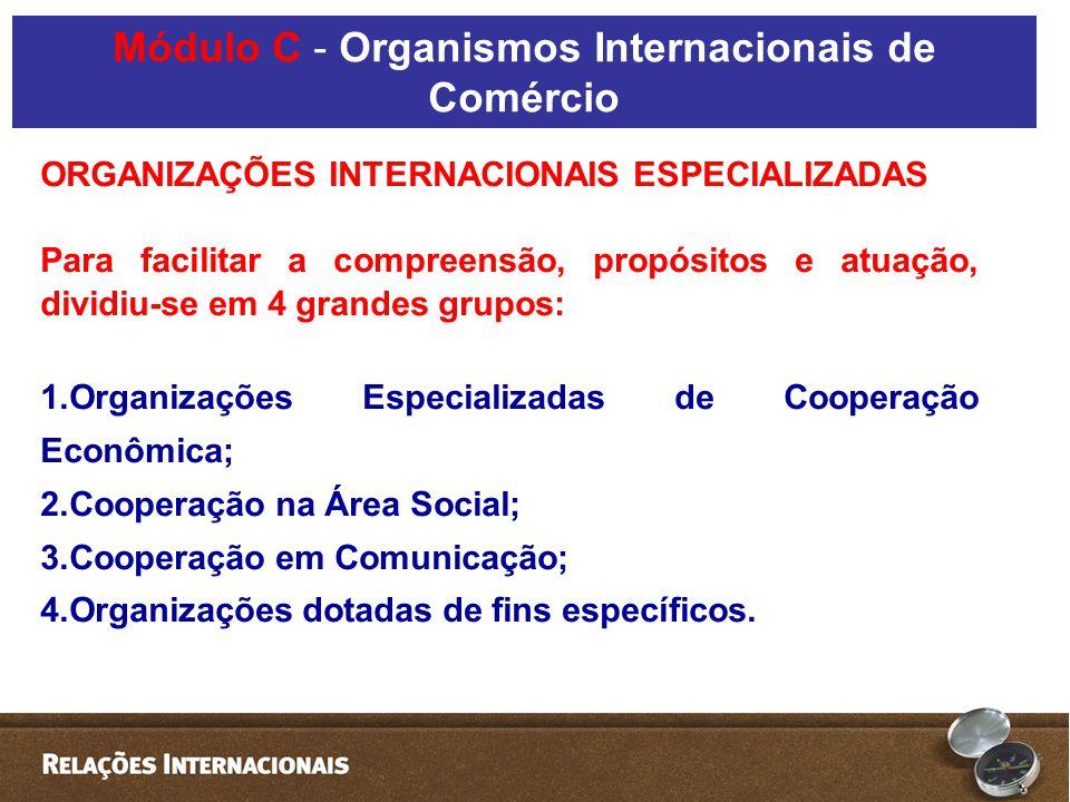 ORGANIZAÇÕES INTERNACIONAIS ESPECIALIZADAS Para facilitar a compreensão, propósitos e atuação, dividiu-se em 4 grandes grupos: 1.Organizações Especializadas de Cooperação Econômica; 2.Cooperação na Área Social; 3.Cooperação em Comunicação; 4.Organizações dotadas de fins específicos.