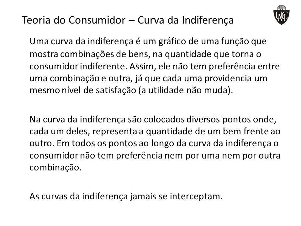 Teoria do Consumidor – Curva da Indiferença Uma curva da indiferença é um gráfico de uma função que mostra combinações de bens, na quantidade que torn