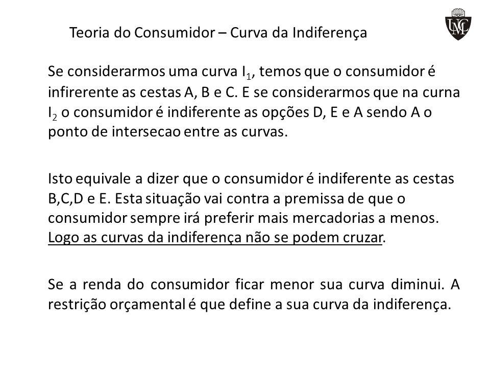 Teoria do Consumidor – Curva da Indiferença Se considerarmos uma curva I 1, temos que o consumidor é infirerente as cestas A, B e C. E se considerarmo