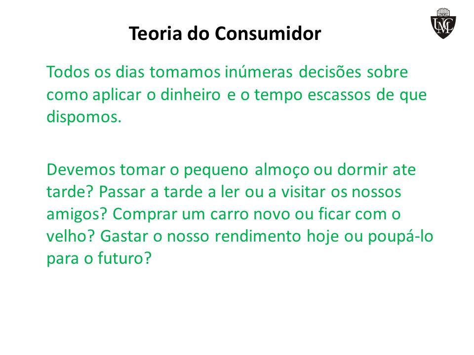 Teoria do Consumidor – Curva da Indiferença Curva da indiferença de um consumidor I1I1 I2I2 A B C E D Cinema Teatro