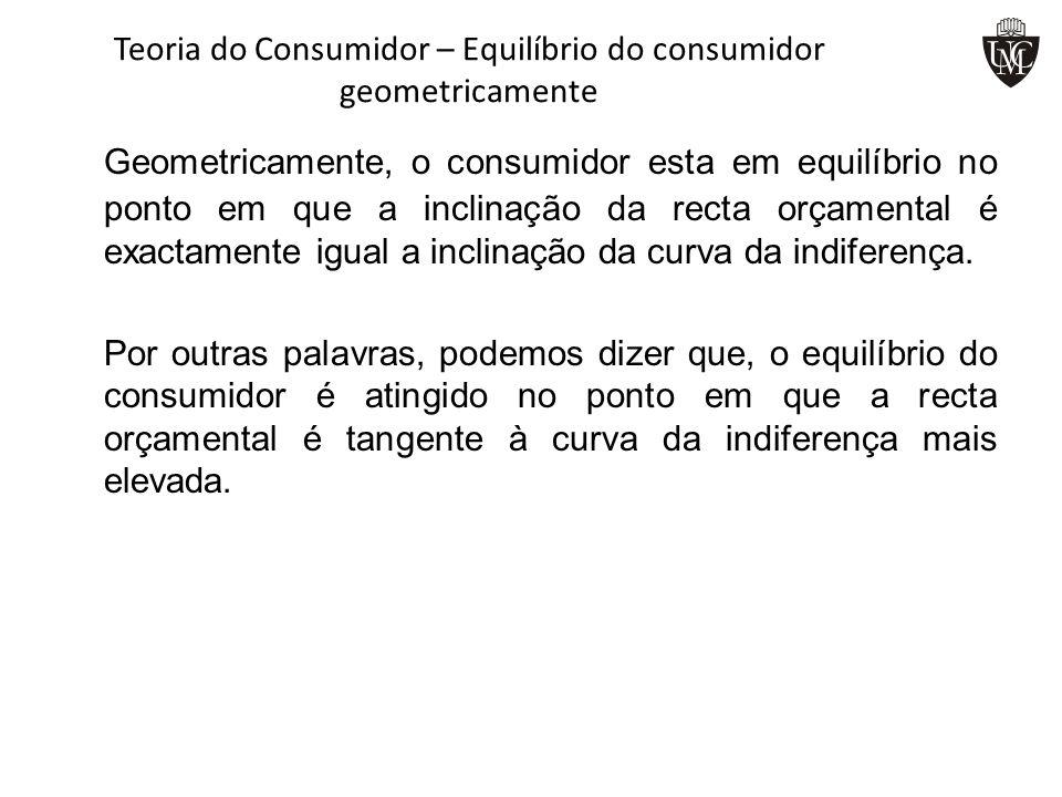 Teoria do Consumidor – Equilíbrio do consumidor geometricamente Geometricamente, o consumidor esta em equilíbrio no ponto em que a inclinação da recta
