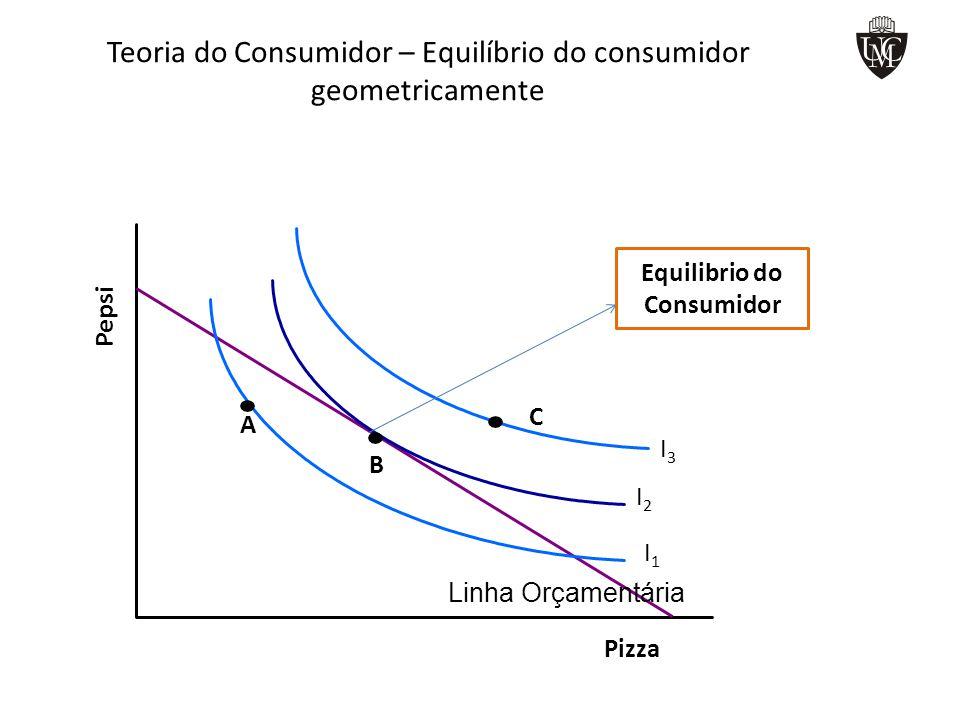 Teoria do Consumidor – Equilíbrio do consumidor geometricamente Linha Orçamentária I1I1 I2I2 I3I3 A B C Equilibrio do Consumidor Pizza Pepsi