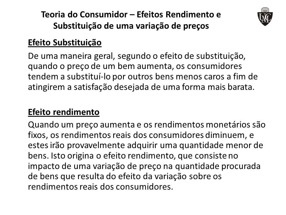 Teoria do Consumidor – Efeitos Rendimento e Substituição de uma variação de preços Efeito Substituição De uma maneira geral, segundo o efeito de subst