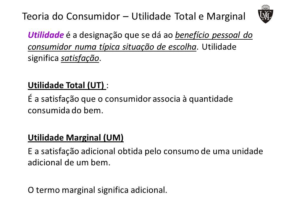 Teoria do Consumidor – Utilidade Total e Marginal Lei da Utilidade Marginal Decrescente Segundo esta lei à medida que a quantidade consumida de um bem aumenta, a utilidade marginal desse bem tende a diminuir.