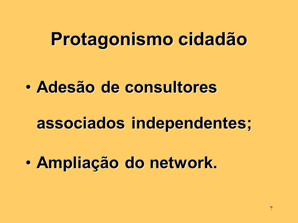 7 Protagonismo cidadão Adesão de consultores associados independentes;Adesão de consultores associados independentes; Ampliação do network.Ampliação do network.