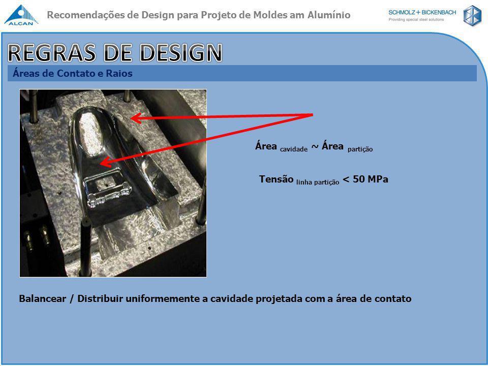 Áreas de Contato e Raios Quando requerido, utilize placas de aço para não sobrecarregar / superestressar a área de partição Placas de Aço Recomendações de Design para Projeto de Moldes am Alumínio