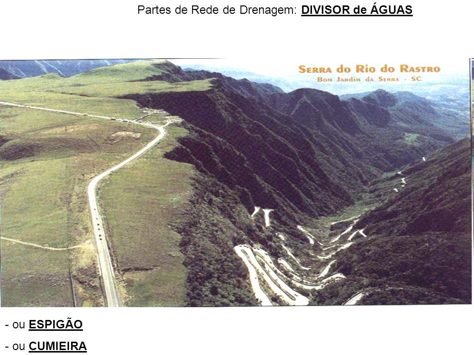 Partes de Rede de Drenagem: DIVISOR de ÁGUAS - ou ESPIGÃO - ou CUMIEIRA