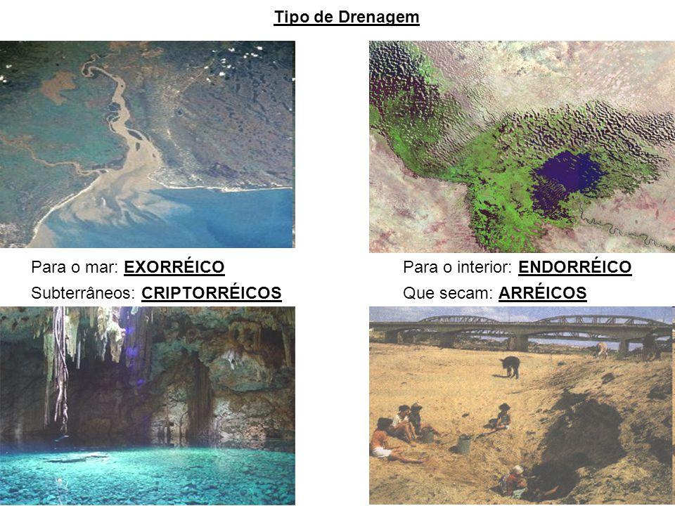 Tipo de Drenagem Para o mar: EXORRÉICOPara o interior: ENDORRÉICO Subterrâneos: CRIPTORRÉICOSQue secam: ARRÉICOS