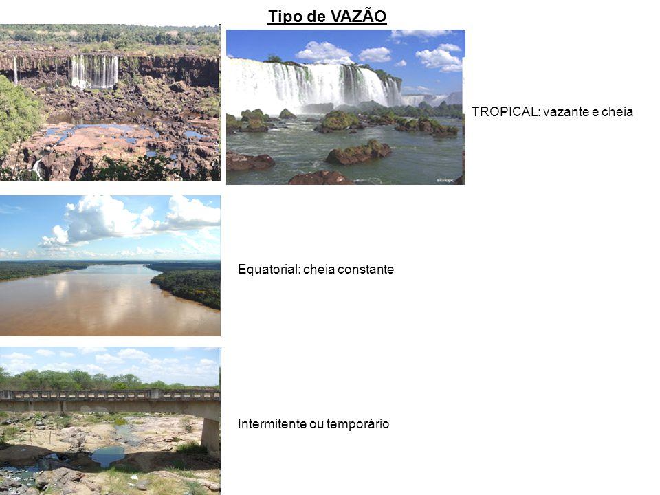 Tipo de VAZÃO TROPICAL: vazante e cheia Equatorial: cheia constante Intermitente ou temporário