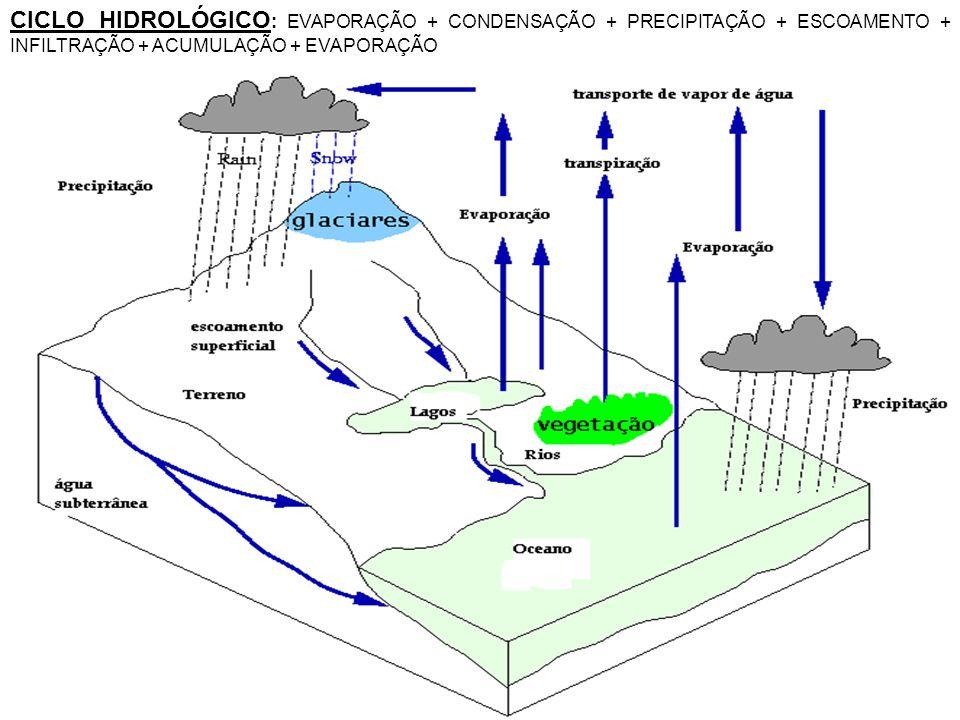 Partes de Rede de Drenagem: CURSO ou LEITO - Jusante: em direção à foz - Montante: em direção a nascente / manancial - margem DIREITA – ESQUERDA: direção da vazão