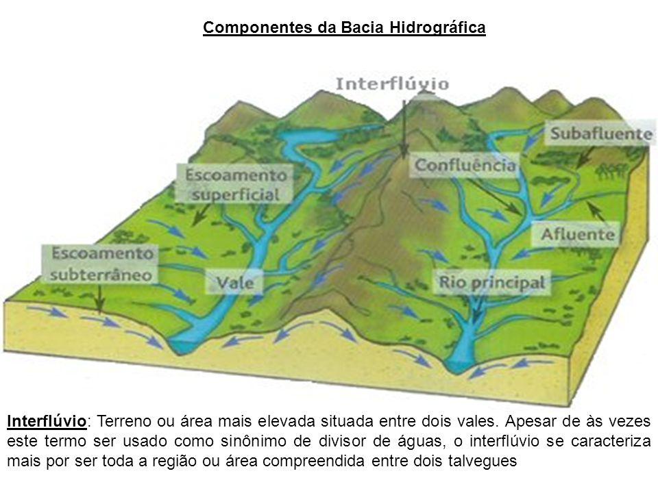 Componentes da Bacia Hidrográfica Interflúvio: Terreno ou área mais elevada situada entre dois vales. Apesar de às vezes este termo ser usado como sin