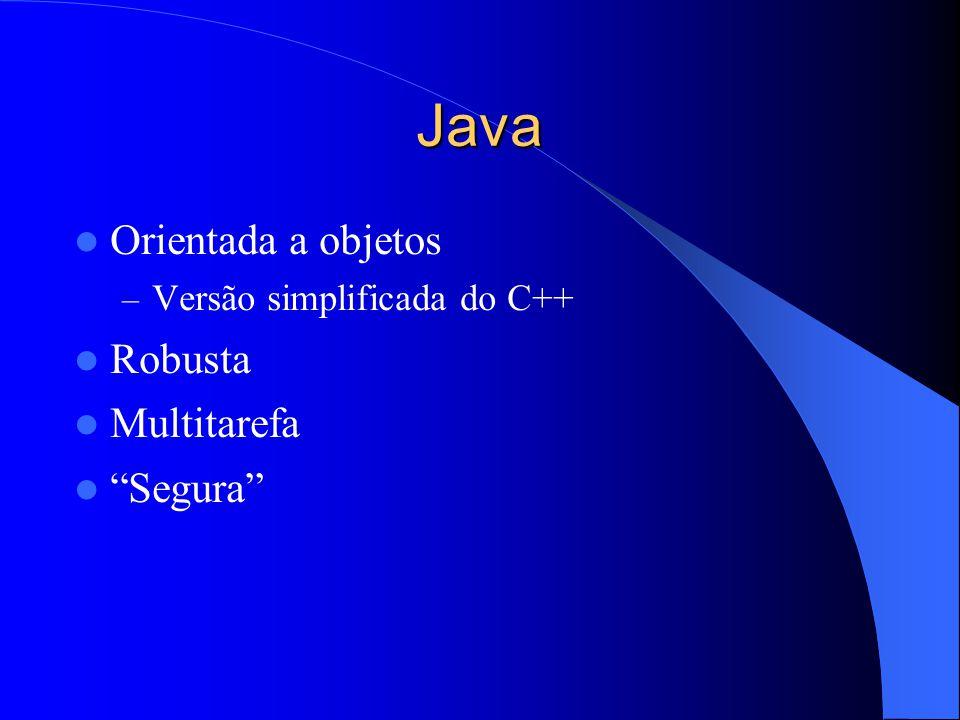 Java Orientada a objetos – Versão simplificada do C++ Robusta Multitarefa Segura