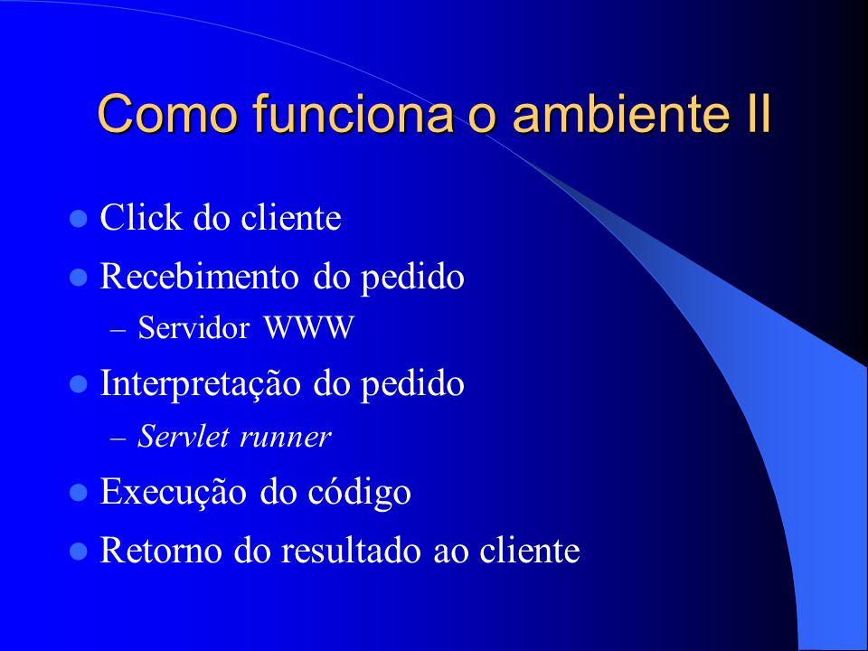 Como funciona o ambiente II Click do cliente Recebimento do pedido – Servidor WWW Interpretação do pedido – Servlet runner Execução do código Retorno do resultado ao cliente
