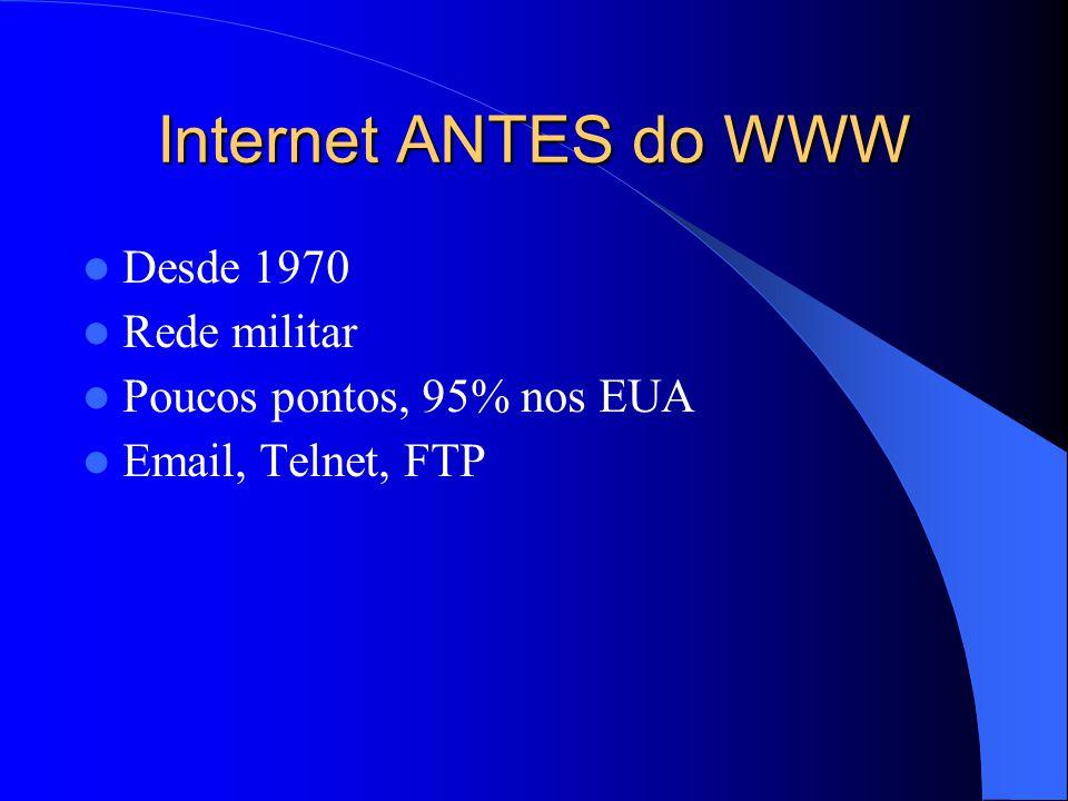 Internet ANTES do WWW Desde 1970 Rede militar Poucos pontos, 95% nos EUA Email, Telnet, FTP