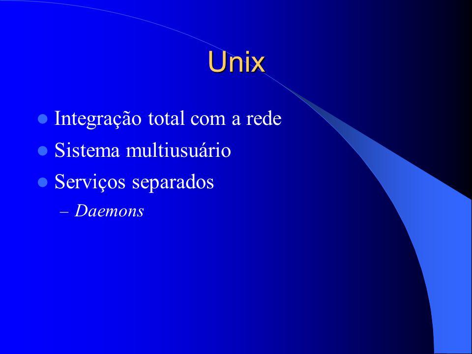 Unix Integração total com a rede Sistema multiusuário Serviços separados – Daemons