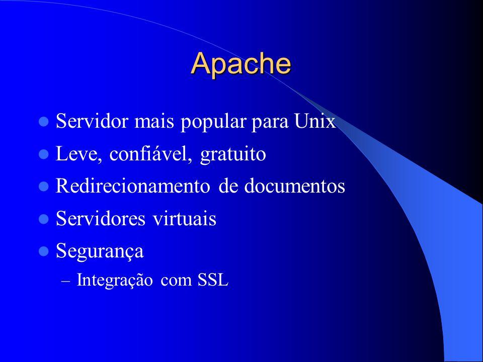 Apache Servidor mais popular para Unix Leve, confiável, gratuito Redirecionamento de documentos Servidores virtuais Segurança – Integração com SSL
