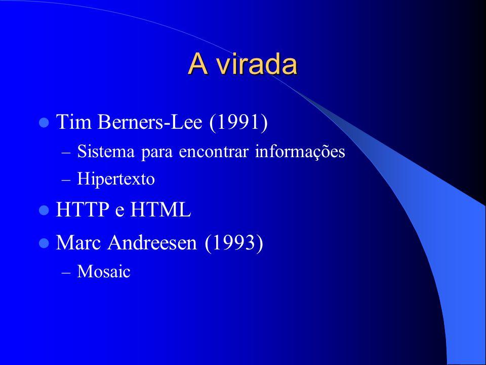 A virada Tim Berners-Lee (1991) – Sistema para encontrar informações – Hipertexto HTTP e HTML Marc Andreesen (1993) – Mosaic