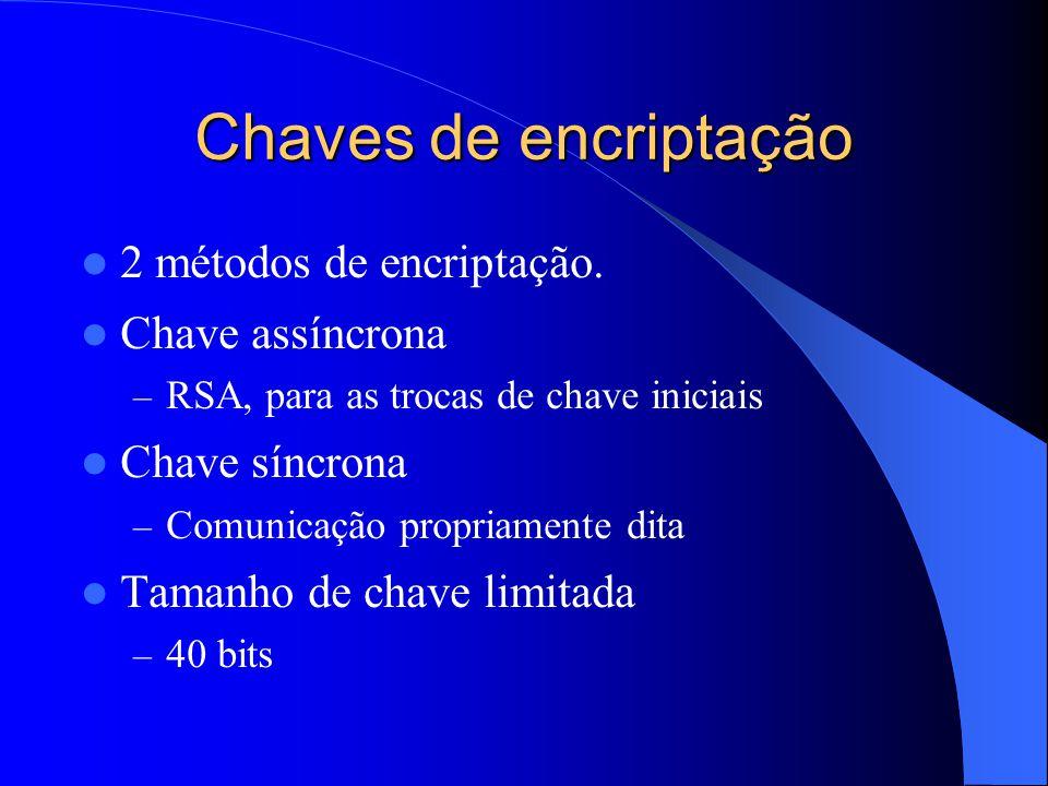 Chaves de encriptação 2 métodos de encriptação. Chave assíncrona – RSA, para as trocas de chave iniciais Chave síncrona – Comunicação propriamente dit