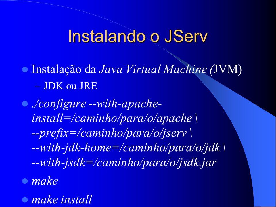 Instalando o JServ Instalação da Java Virtual Machine (JVM) – JDK ou JRE./configure --with-apache- install=/caminho/para/o/apache \ --prefix=/caminho/para/o/jserv \ --with-jdk-home=/caminho/para/o/jdk \ --with-jsdk=/caminho/para/o/jsdk.jar make make install