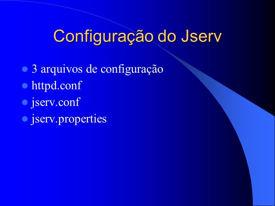 Configuração do Jserv 3 arquivos de configuração httpd.conf jserv.conf jserv.properties