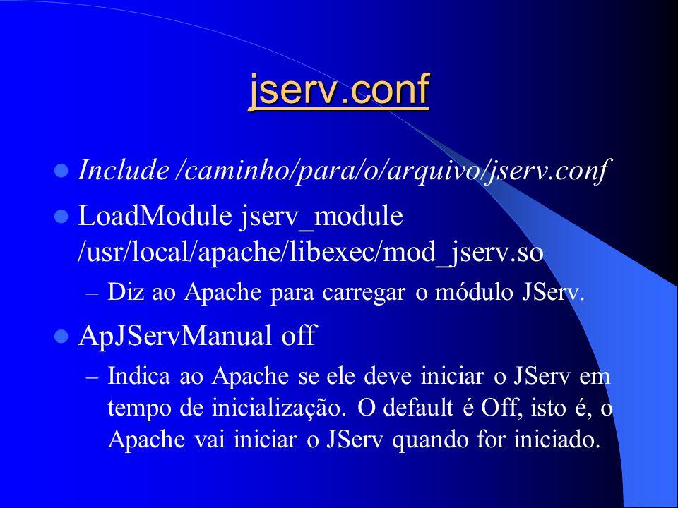 jserv.conf Include /caminho/para/o/arquivo/jserv.conf LoadModule jserv_module /usr/local/apache/libexec/mod_jserv.so – Diz ao Apache para carregar o módulo JServ.
