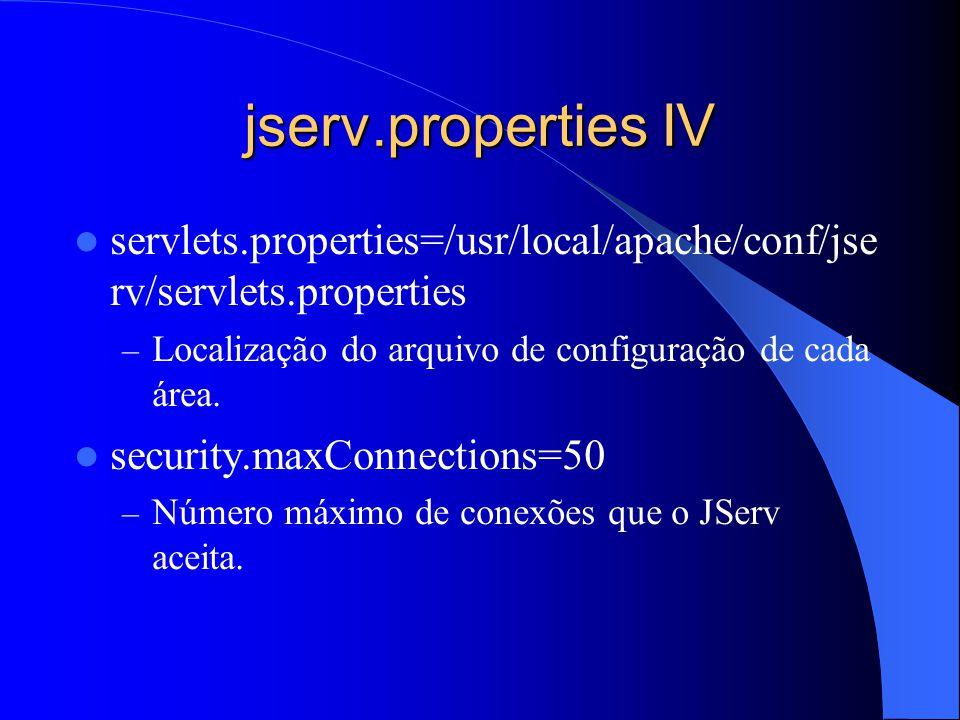 jserv.properties IV servlets.properties=/usr/local/apache/conf/jse rv/servlets.properties – Localização do arquivo de configuração de cada área.