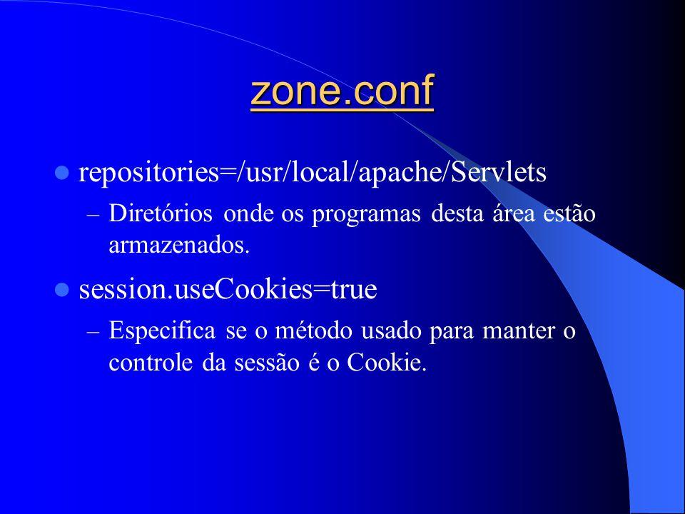 zone.conf repositories=/usr/local/apache/Servlets – Diretórios onde os programas desta área estão armazenados. session.useCookies=true – Especifica se