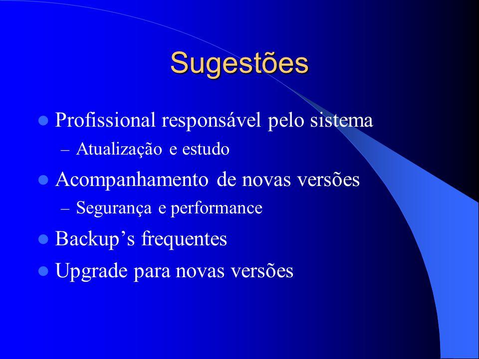 Sugestões Profissional responsável pelo sistema – Atualização e estudo Acompanhamento de novas versões – Segurança e performance Backup's frequentes Upgrade para novas versões