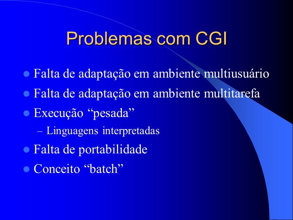 """Problemas com CGI Falta de adaptação em ambiente multiusuário Falta de adaptação em ambiente multitarefa Execução """"pesada"""" – Linguagens interpretadas"""