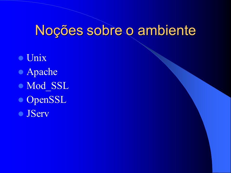 Noções sobre o ambiente Unix Apache Mod_SSL OpenSSL JServ