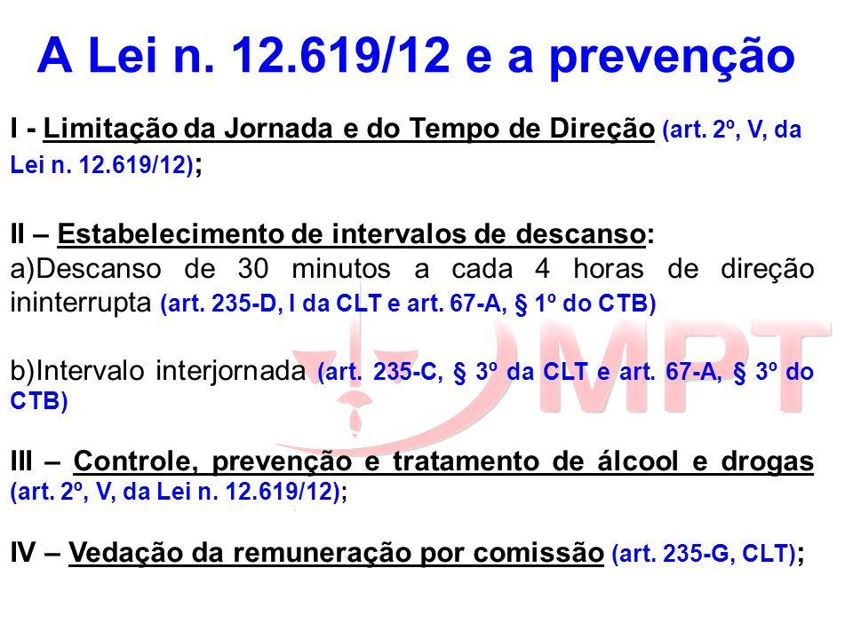 A Lei n. 12.619/12 e a prevenção I - Limitação da Jornada e do Tempo de Direção (art. 2º, V, da Lei n. 12.619/12) ; II – Estabelecimento de intervalos